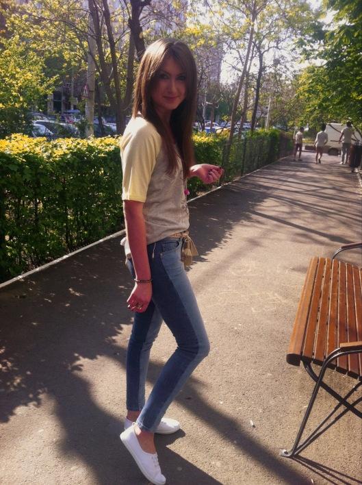 two-tone zara skinny jeans
