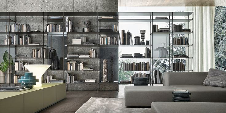 brown aluminium Wind bookcase, riflettente grigio glass back panels