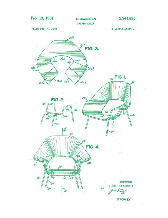 Patent application drawing for the Saarinen womb chair. This Etsy artist sells patent application prints for many classic mid-century designs. Buying out her entire store in 3, 2...