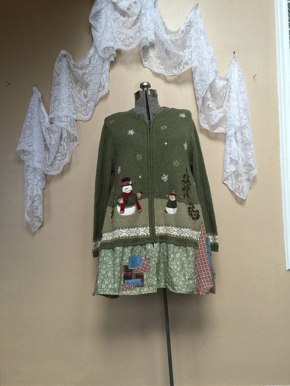 Upcycled Snowman Sweater, Patchwork Sweater, Green Winter Christmas Cardigan, Shabby Chic Cottage Style Appliqué Snowman Sweater, I added Cute Denim Pockets on the Side.  Size medium to XL Label is an XL 21 armpit to armpit 34 long