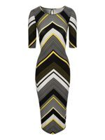 Look what I found at House of Fraser  $75.00   Jane Norman. Dress To impress with true off duty model style in this must have chevron midi dress. Featuring fitted bodycon shape, 1/2 length sleeves, chevron pattern and on trend midi length. Team this gorgeous dress with killer ankle boots, neon clutch and smokey eyes for a look that means style business! Dress Length 112cm.•Tunic Dress •Main: 94% polyester 6% elastane Lining: 100% polyester •Machine Wash 30°C