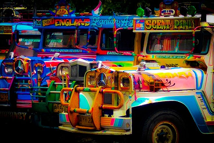 """Jeepneys are the most popular means of public transportation in the Philippines. They are known for their crowded seating and kitsch decorations, which have become a ubiquitous symbol of Philippine culture and art. Jeepneys were originally made from U.S. military jeeps left over from World War II. The word jeepney is likely a portmanteau word – a combination of """"jeep"""" and """"jitney"""". - #Wikipedia  #Philippines #Jeepneys #Art #Color #Travel #Adventure #YBCtheWorld"""