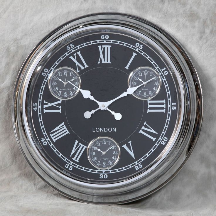 """""""London"""" Multi Dial Wall Clock - Chrome With A Black Face"""