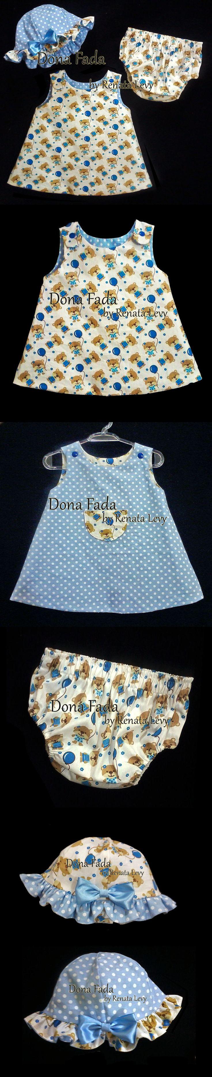 Vestido, Chapéu e tapa fraldas - 1 ano - - - - - baby - infant - toddler - kids - clothes for girls - - - https://www.facebook.com/dona.fada.moda.para.fadinhas/