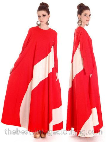 Vintage 1970s Vuokko Designer Iconic Tent Dress Red White Barbershop Stripes 44 Large