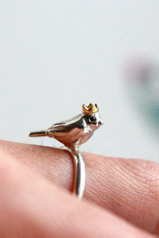 Sure, you can hang out here. Bird ring by RockCakes on Etsy