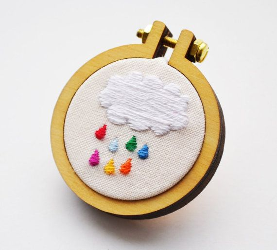 Rainbow raindrop cloud hoop brooch. Miniature 4cm Hand Embroidery Hoop Art
