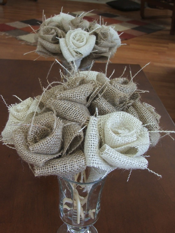 Burlap Flowers With Stems Rustic Wedding Decor By