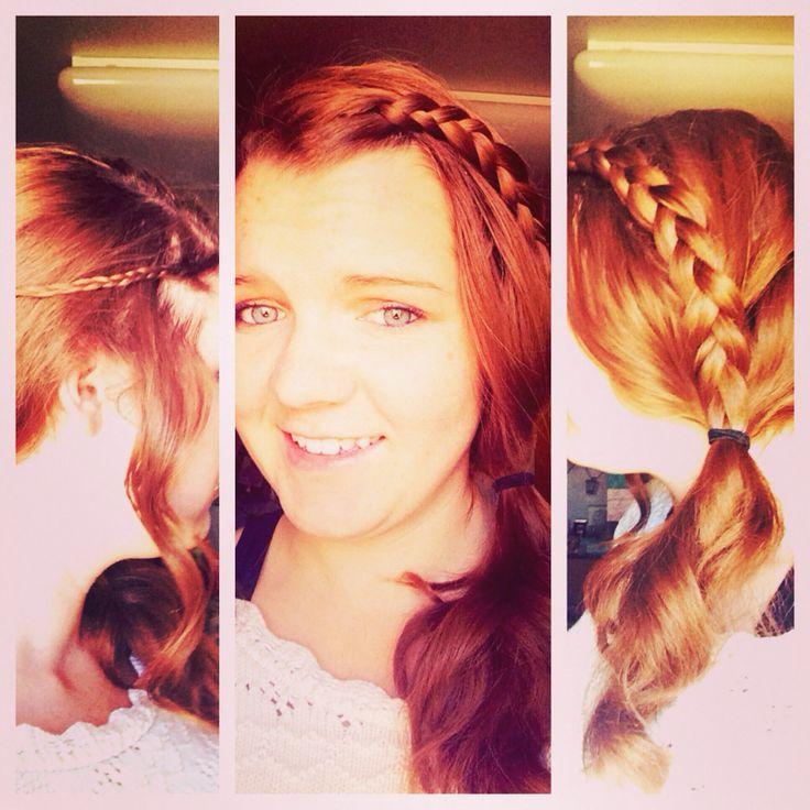 Red hair | Braids | Side ponytail