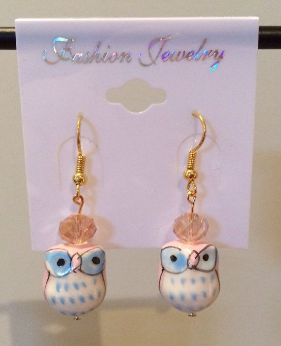 Ceramic Pink Owl Earrings