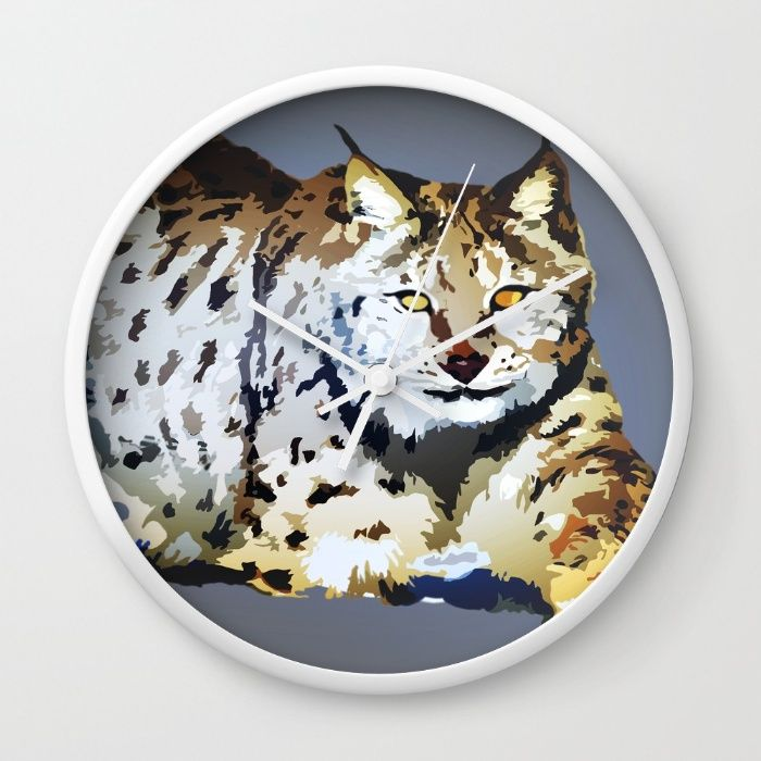 Lynx Wall Clock by Animilustration | Society6