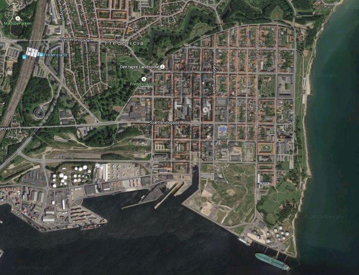 'Google Maps' map of Fredericia ramparts - Jutland, Denmark.