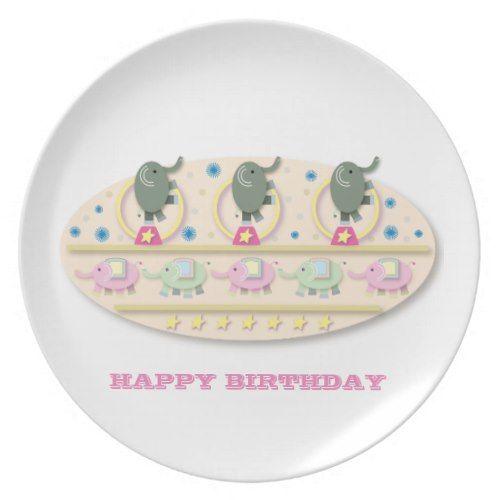 Playful Circus Elephants Cartoon Melamine Plate