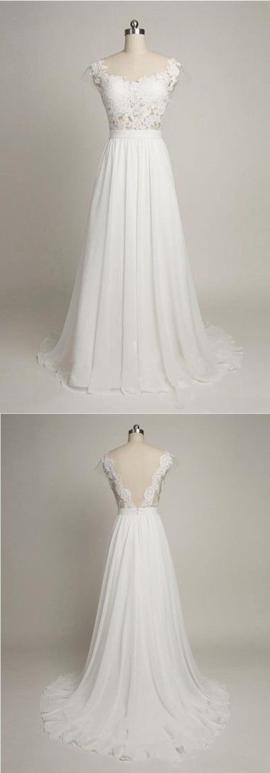 A-Line Boat Neck Cap Sleeves Sweep Train White Chiffon Wedding Dress with Lace,JD 411 from June Bridal