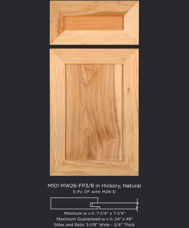Natural hickory with a wide, flat frame give this cabinet door a transitional, modern look - by TaylorCraft Cabinet Door Company