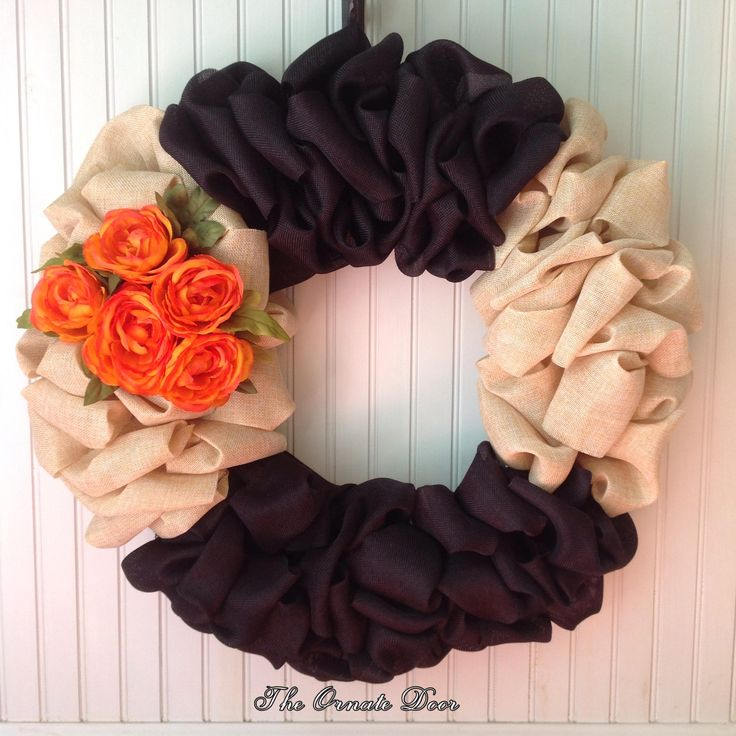 Fall burlap wreath, Halloween burlap wreath, fall wreath, Halloween wreath, black and tan wreath, black and orange wreath, burlap wreath by TheOrnateDoor on Etsy