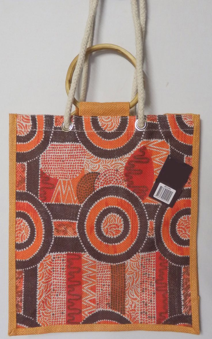 Kamilaroi design Jute Bag Galinggalin Dreaming  Artist:  Kelly Roach  made from Jute in China size: 33cm x 39cm with 23cm gusset long cord and bamboo handles  Code: JUTE-GD07 Price: $9.00