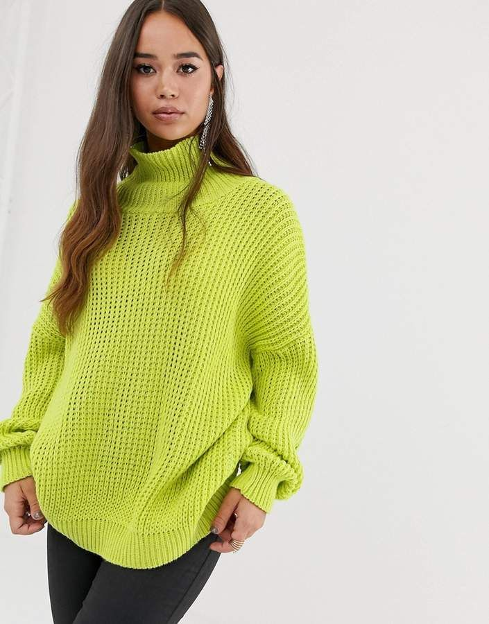 PrettyLittleThing oversized chunky knit sweater in neon