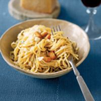 Easy Pantry Pasta - remove bread squares, replace with protein of choice: shrimp, chicken, sausage, meatballs..