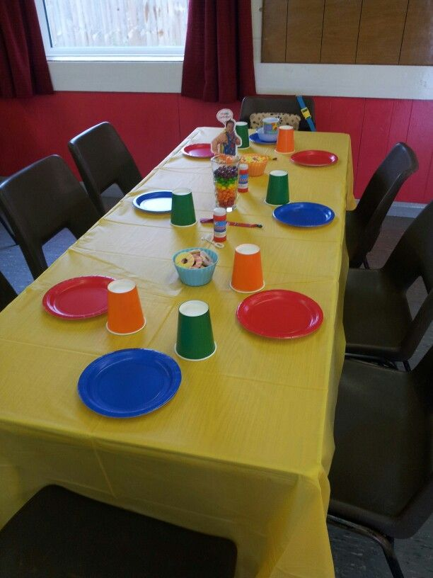 Mr Tumble party - can add characters on table to include other cbeebies programs.