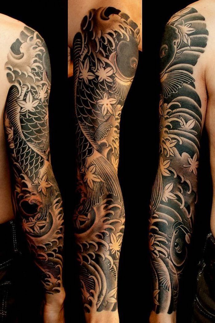 best 25 koi tattoo sleeve ideas on pinterest skull. Black Bedroom Furniture Sets. Home Design Ideas