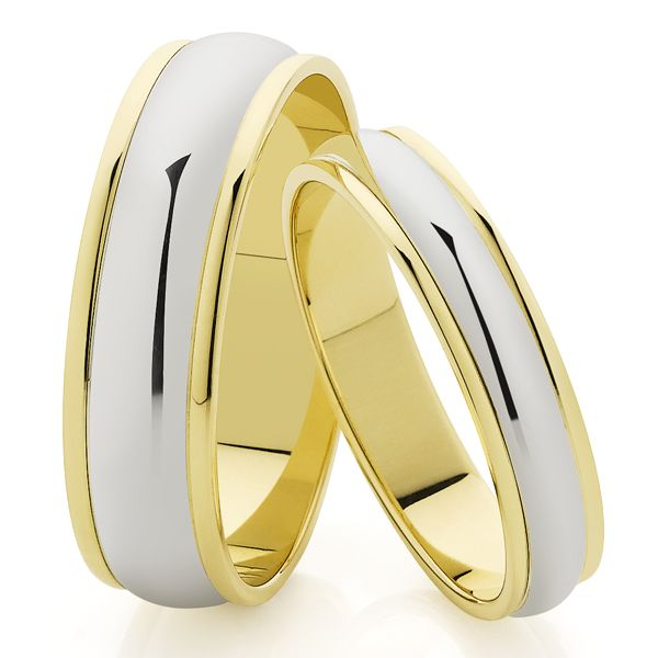 9ct & White Gold 6mm Polished Band