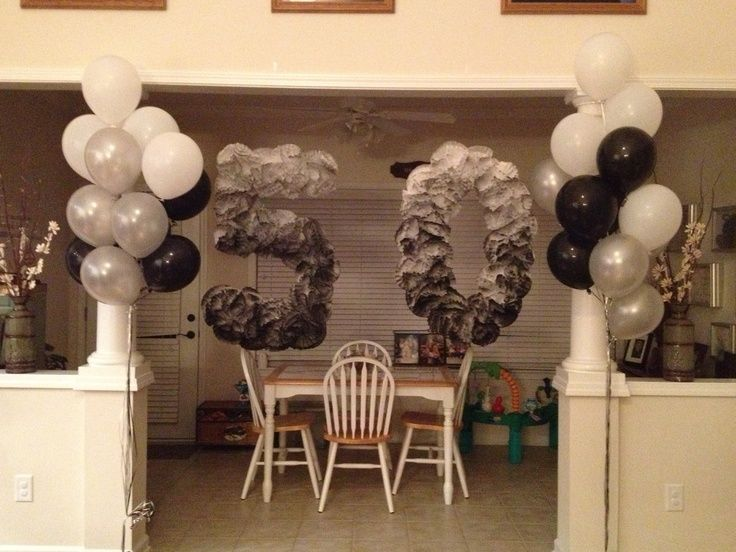 black white and grey 50th birthday party ideas for men - 50th Birthday Party Decorations