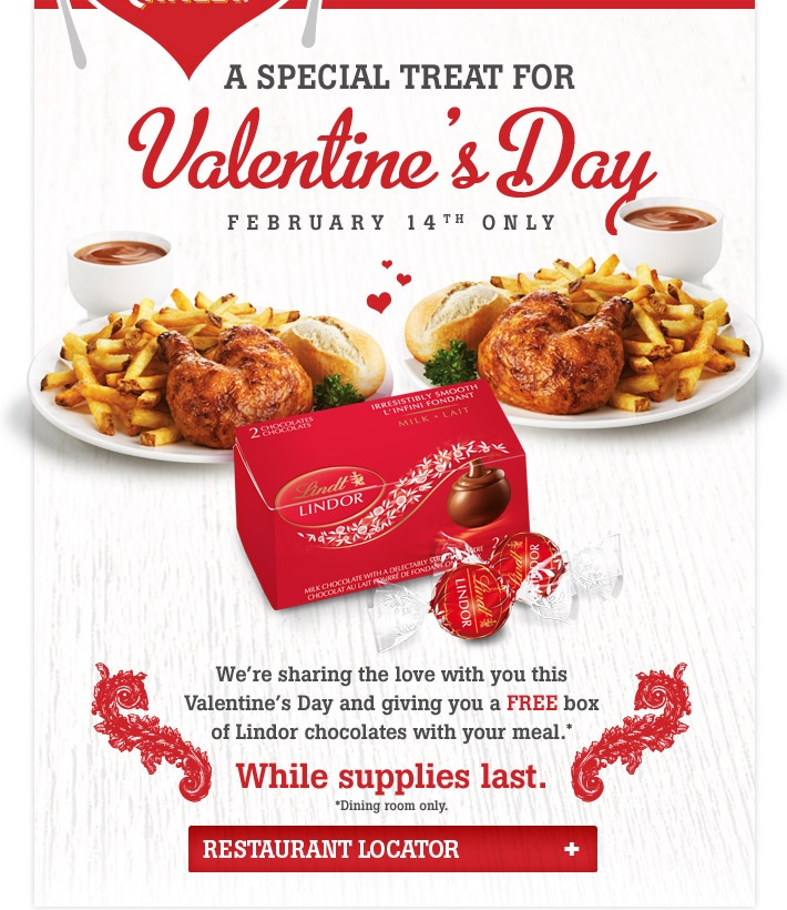 Valentine's Day at Swiss Chalet!