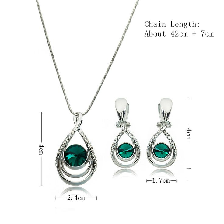 Elegant Women Bridal Jewelry Set 5 Color Drop Shape Gemstone Crystal Clavicle Necklace Earrings