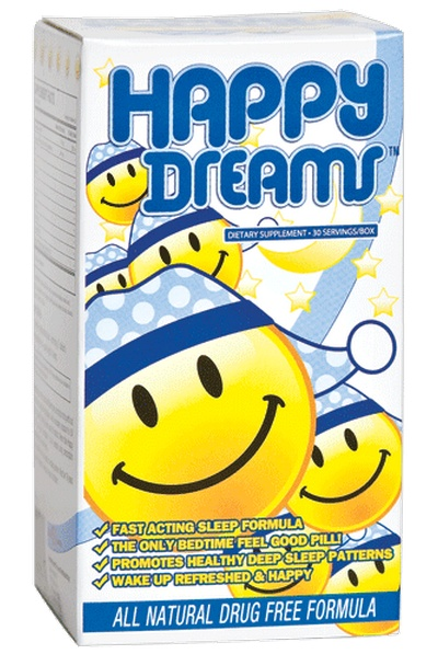 Happy Dreams is a single fast acting tablet that delivers a long, restful and peaceful sleep. Happy Dreams contains Melatonin (Sleep), L-Theanine (Sleep), Inositol (Sleep), and a powerful blend of mood enhancement compounds, 5-Hydroxytryptophan (5HTP)(excites your brain with Serotonin), Vitamin B6, GABA (neurotransmitter), and Anti-Oxidants (Resveratrol, Grape Seed Extract, and Red Wine Extract.