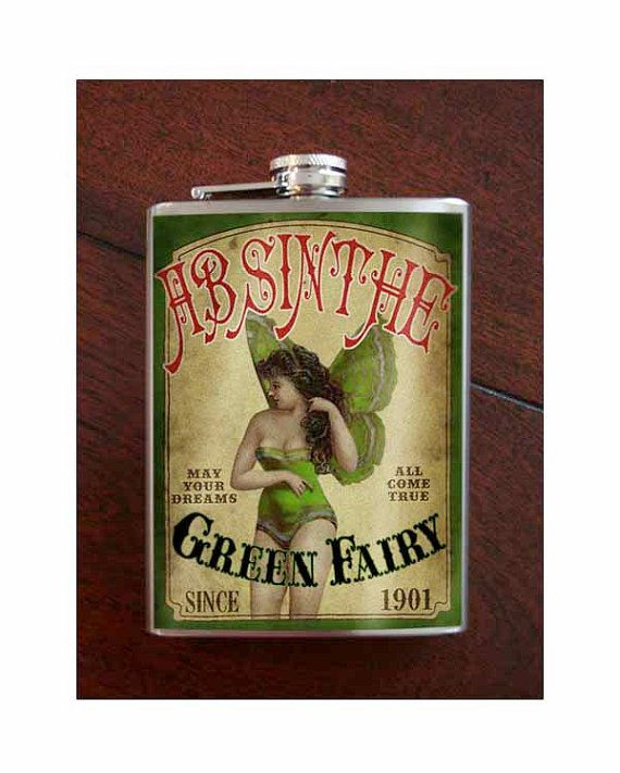 Absinthe Fairy Flask 8oz. stainless steel by trixieandmilo