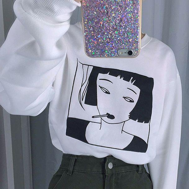"Smoking Girl Sweatshirt (S-XL) SE9643   Coupon code ""cutekawaii"" for 10% off"
