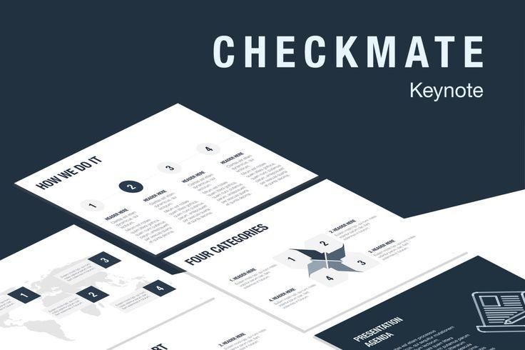 Template de Keynote Checkmate  O modelo Checkmate oferece uma aparência profissional para as apresentações de slides exclusivas da Keynote. Ele inclui 20 mestres e 2 tamanhos de slides, o que lhe permite escolher o melhor layout para suas informações. Os layouts modernos e polidos vão além dos meros backgrounds, fontes e balas: eles contêm gráficos, diagramas, tabelas e outros elementos de visualização de dados correspondentes.