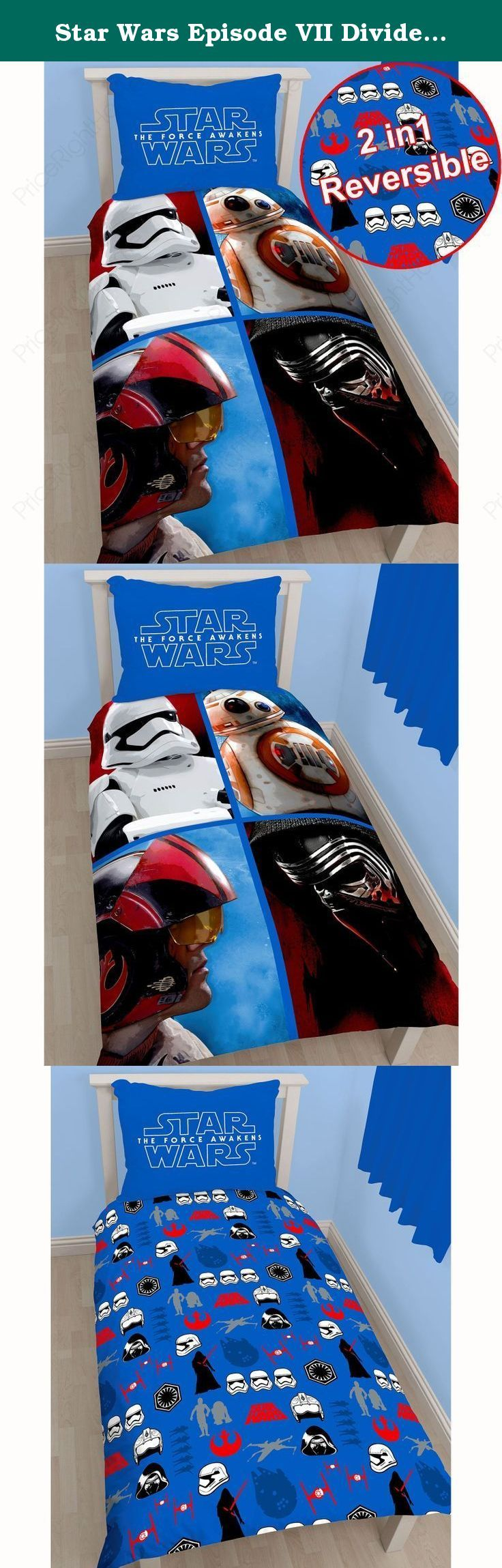 Star Wars Episode VII Divider UK Single/ US Twin Duvet Cover and Pillowcase Set. Official Star Wars Episode VII merchandise Features Kylo Ren, a Stormtrooper, Poe Dameron and BB-8 Reversible - 2 designs in 1 Duvet Cover size: 135cm x 200cm (53in x 78in) Pillowcase size: 48cm x 74cm (19in x 29in) 50% Cotton, 50% Polyester Machine washable To fit single bed 90cm x 190cm (36in x 75in) Main colour: Blue Please note: Comforter and pillow not included The Force is strong with this awesome Star...