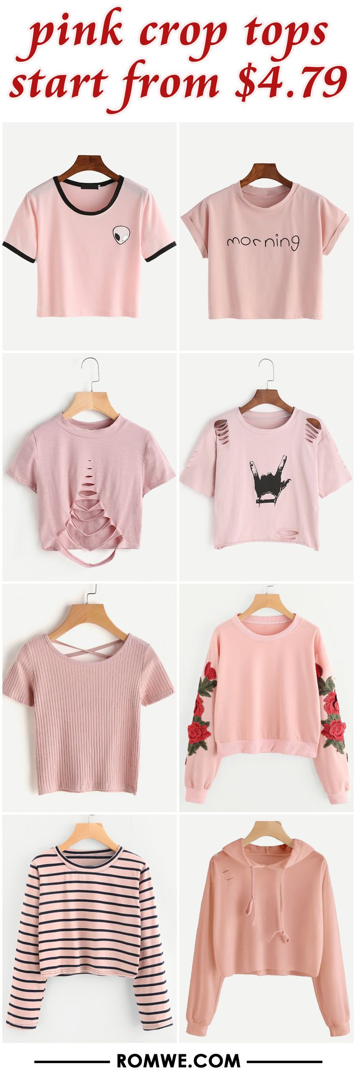 pink crop tops from $4.79