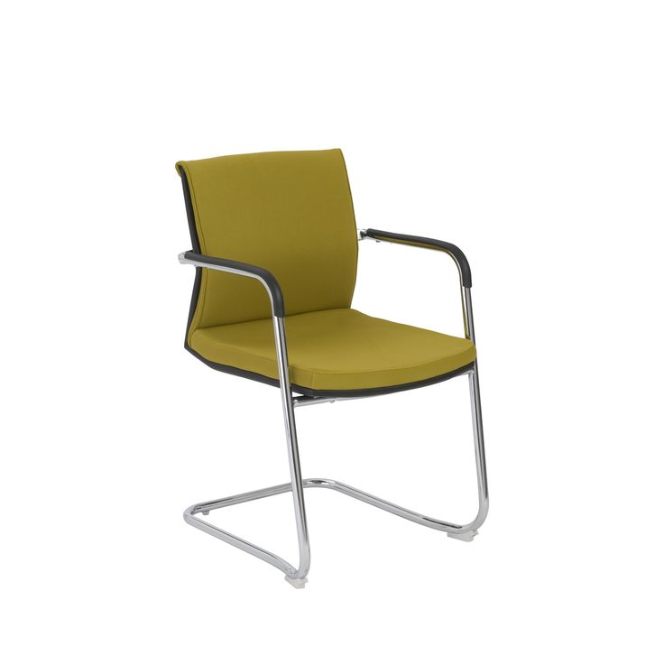 Euro Style 00699YEL Baird Visitor Chair (Set of 2) in Mustard Yellow/Chrome