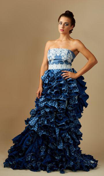 Navy blue Tswana shweshwe dress