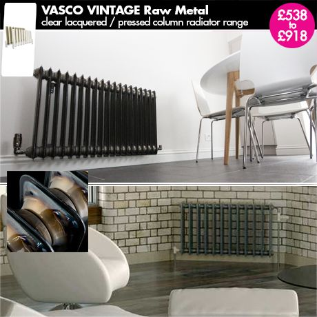 "Raw Metal Radiator - ""Vasco Vintage"" - Brown Horizontal Designer Radiator for a Central Heating System."
