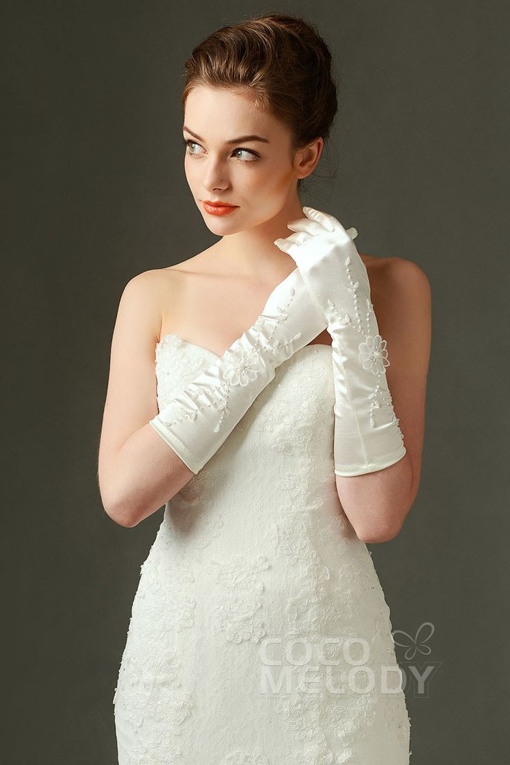 Fingertips Elbow Length Elastic Satin Ivory  Wedding Gloves with Appliques and Beading ST160014  #weddinggloves #weddingessentials #weddingaccessories #cocomelody