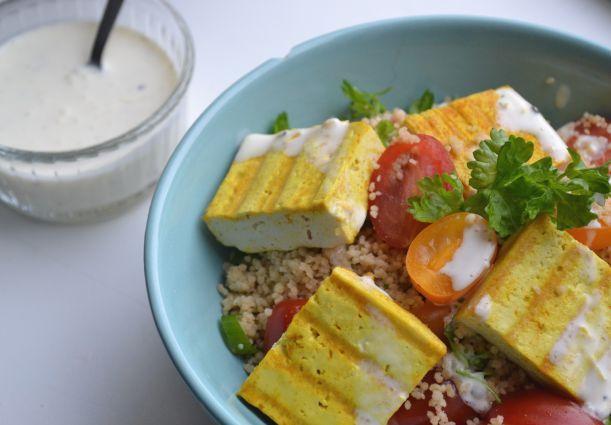 Volkoren Couscous Salade met Kurkuma Tofu