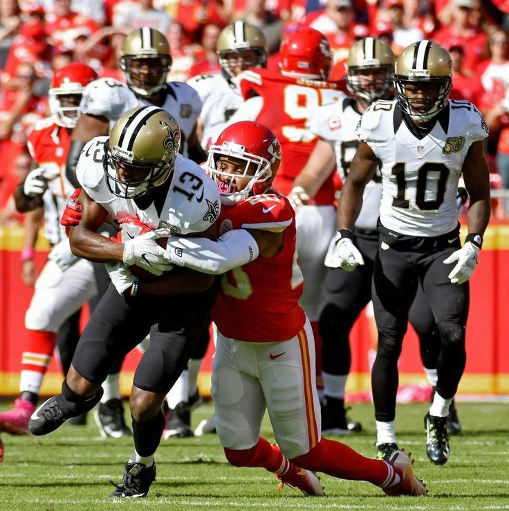 Saints vs. Chiefs  -  27-21, Chiefs  -  October 23, 2016:    Kansas City Chiefs cornerback Steven Nelson brings down New Orleans Saints wide receiver Michael Thomas in the first quarter during Sunday's football game on October 23, 2016 at Arrowhead Stadium in Kansas City, Mo.