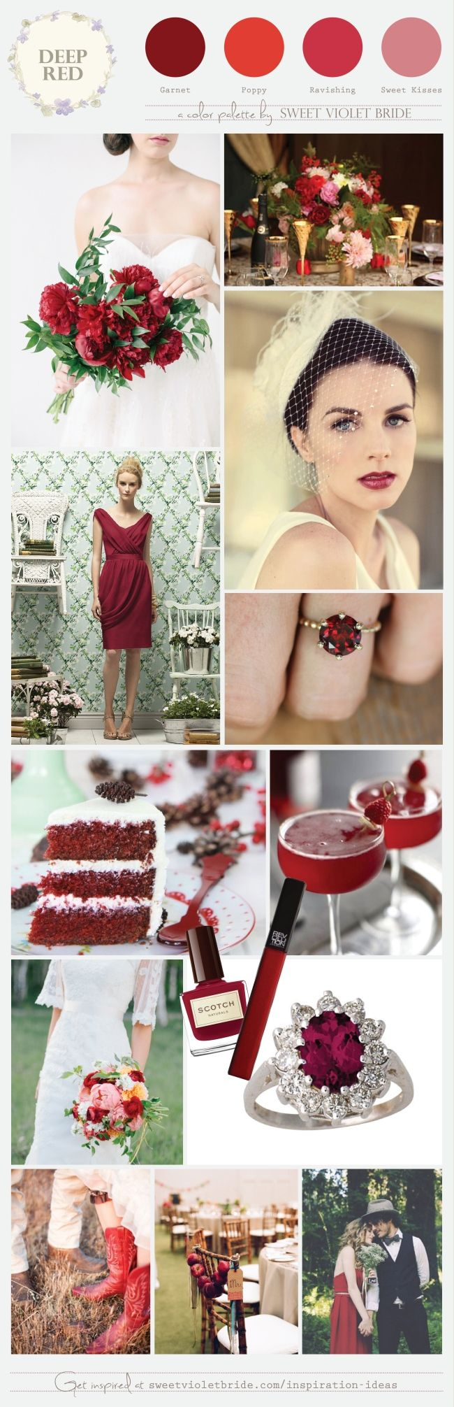 We've been thinking about deep red lately. Maybe it's because January's birthstone is Garnet, or perhaps it's because Valentine's Day is around the corner. Of course, fall and winter weddings are awash in gorgeous shades of red, from apples to holly berries. This palette can be bold or sweet, light or luscious,