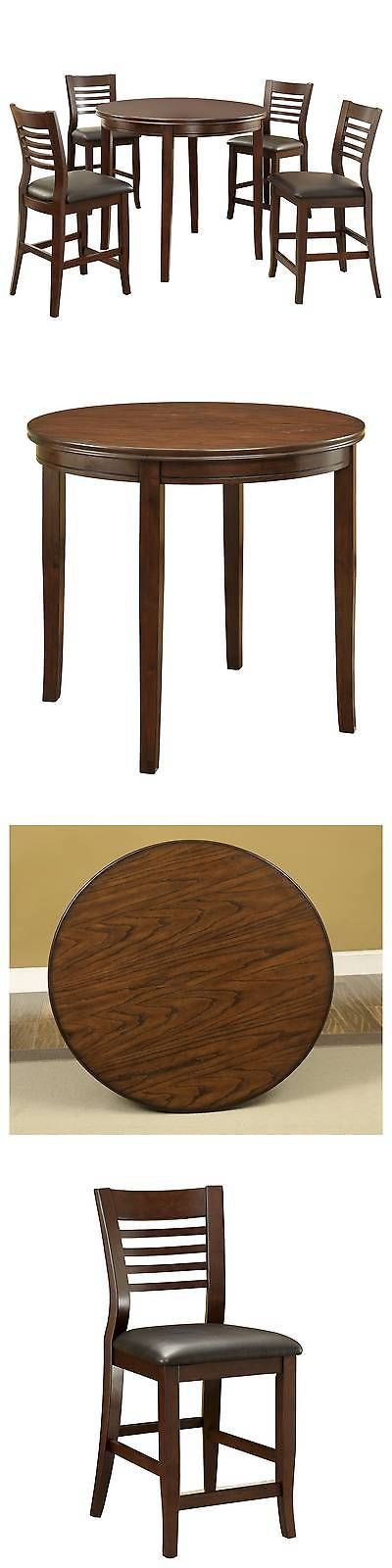 Sets 98478: 5-Piece Simple Transitional Counter Height Table Set - Brown Cherry -> BUY IT NOW ONLY: $999.99 on eBay!