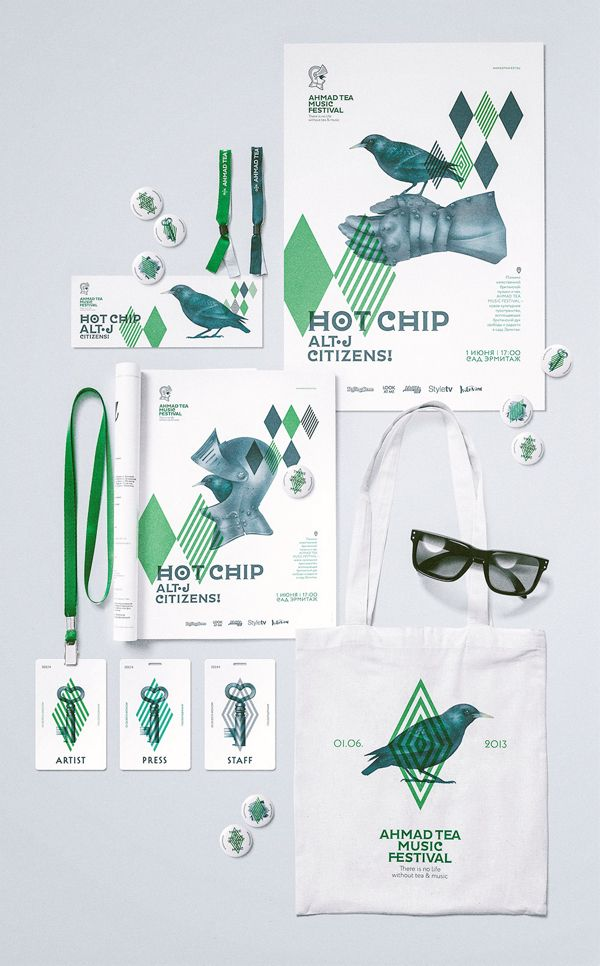 Layering and limited color. Ahmad Tea Music Festival branding by Myznik Egor and Marina Myznik.