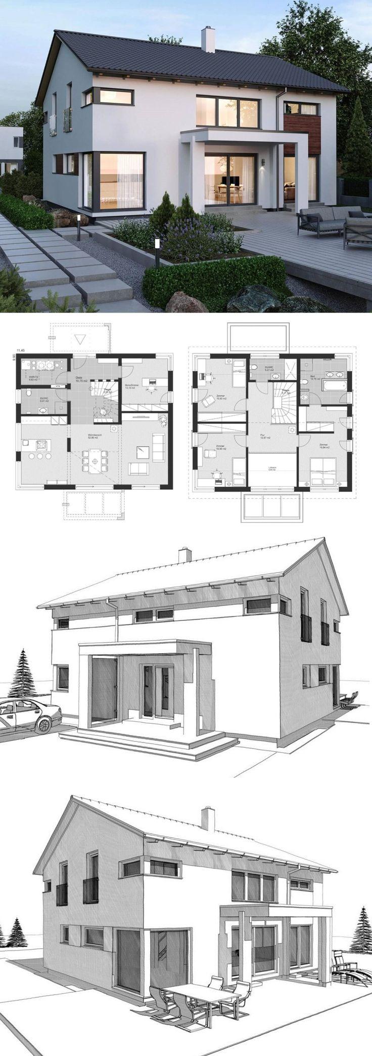 Einfamilienhaus Neubau modern Grundriss mit Sattel…