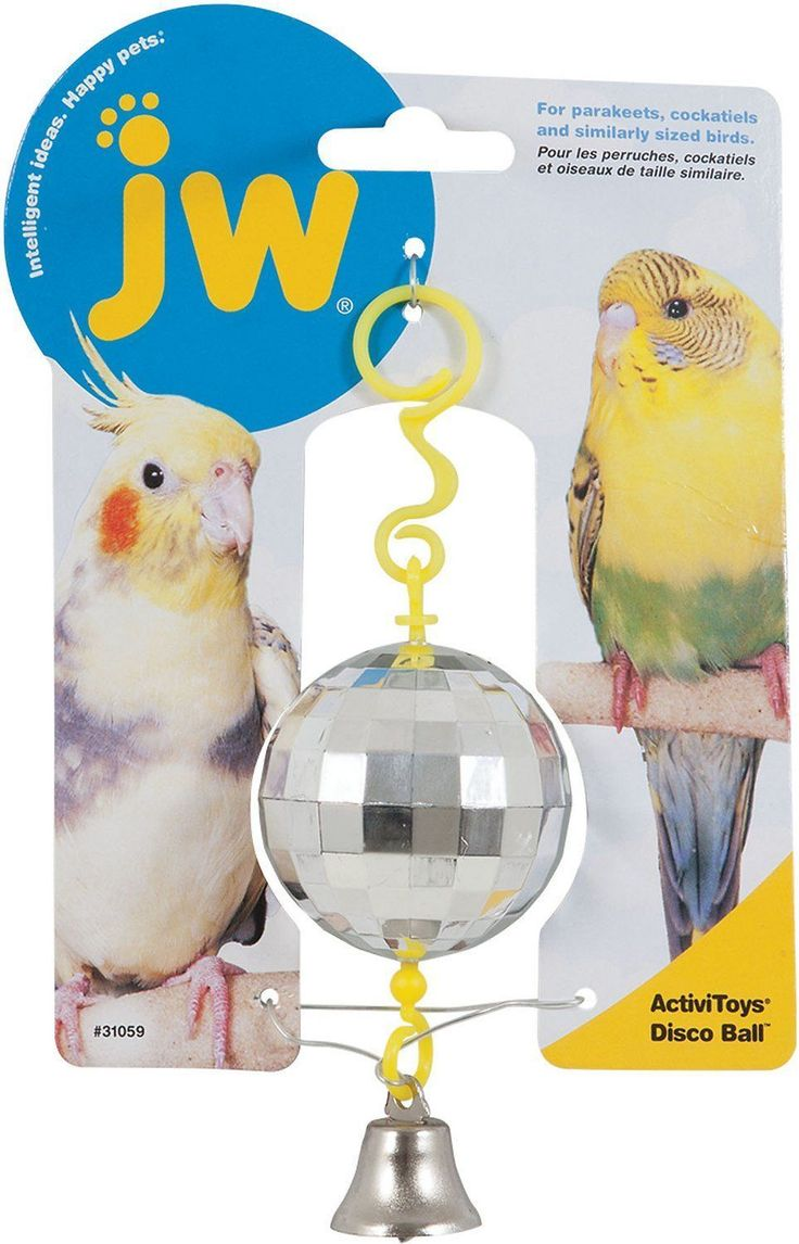 The JW Pet Activitoy Birdie Disco Ball Toy is a fun, interactive toy made to engage your pet bird's senses and provide extra stimulation. This shiny disco ball attracts birds with a multifaceted surface covered in tiny reflective squares and keeps them fascinated with a ringing bell. The captivating Birdie Disco Ball Toy easily fastens onto a wire cage or most perches or branches. #parrotcagecover
