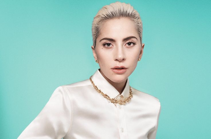 Lady Gaga is wearing a light pink silk shirt. She has light make up on her face and looks different than her bizarre avatar. She is wearing golden studs in ears along with a golden chain in her neck.