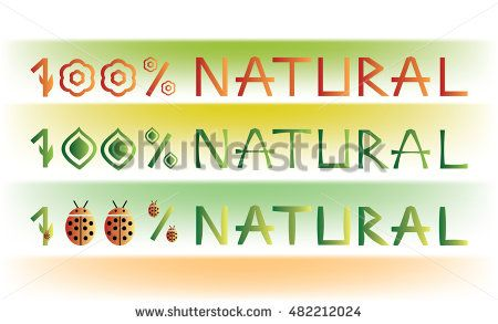Set of 100% #NATURAL #fonts/text on a colorful background with #floral elements and #ladybugs