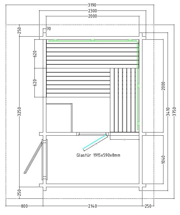 Gartensauna - Massivholz Blockbohlen - Pultdach - Grundriss