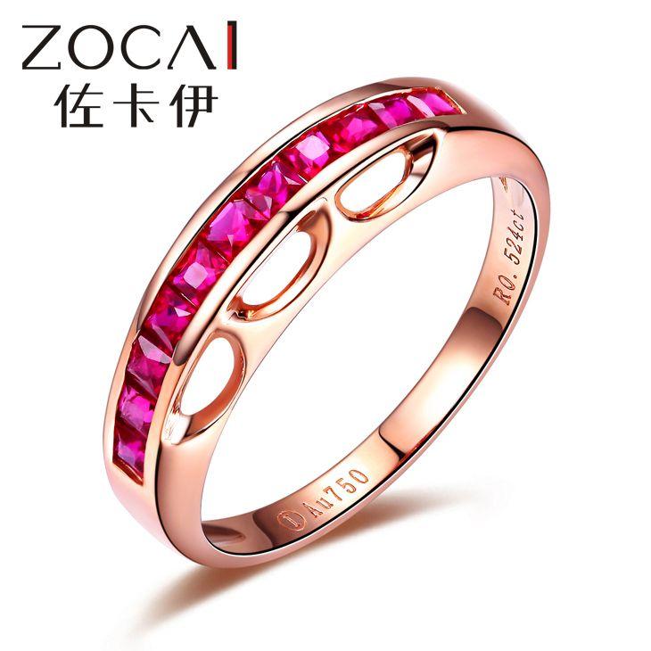Новое Прибытие ZOCAI 18 К розовое золото 0.52 КТ certified Неподдельная рубиновое кольцо ювелирные кольца W04714